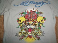 Ed Hardy Brand Tiger Skulls Grey Graphic Print T-Shirt Youth XXL