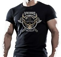 VIKING SKULL SHIELD MMA FIGHTING WORKOUT MOTIVATION MENS T SHIRT UFC muay thai