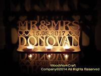 Mr&Mrs with date personalised led Tea light holder, wedding decoration, Gift