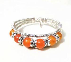 "Tibetan Silver Cuff Bracelet Bangle Striped Orange Agate Bangle 8.5"""