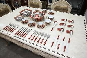 Royalty Porcelain Madonna Antique 75pc Large dinner and Sushi Set, Service for 6