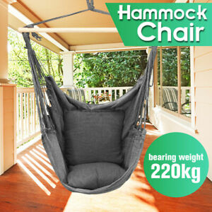 1x Garden Hammock Chair Hanging Swing Seat + Soft Cushion Outdoors Camping L*//