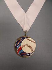 gold Baseball medal with wide white neck drape color enamel ball