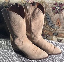 Texas All American Made Men's Western Boots 🤠 11  D Reg Suede Tan Vintage USA