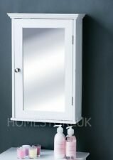 WHITE WOODEN MIRROR BATHROOM STORAGE CABINET WALL MOUNTED WITH SINGLE DOOR 0942