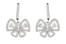Clip On Earrings - silver plated butterfly with clear crystals & stones - Nalin