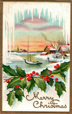 Vintage Nash 1910 Embossed Christmas Postcard Icicles Sailboat Village #Pc0099