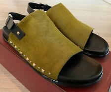 $1,000 Bally Sebi Green Real Fur and Leather Sandals size US 12 Made in Italy
