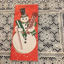 Vintage Greeting Card Christmas Snowman Cute Gifts Candy Cane