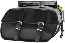 MEDIUM SIZE PLAIN STYLE PV LEATHER MOTORCYCLE SADDLEBAGS UNIVERSAL FITMENT