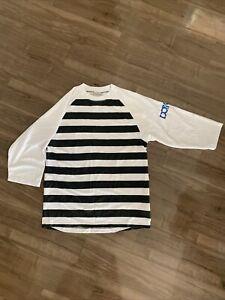 Used DAKINE Large Men Enduro Downhill Jersey 3/4 Sleeves Black & White Stripes
