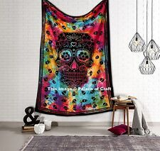 Tie Dye Skull Cotton Indian Twin Tapestry Wall Hanging Bedspread Throw Bohemian