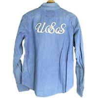 Vintage Bathing Ape BAPE Ursus Logo Patch Spell Out Button Down Polo Men's