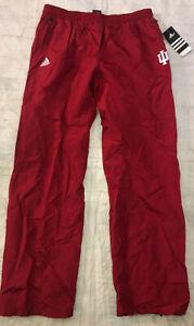 Indiana University Adidas IU men's Large zip Ankle Wind Pants Red Warm-up