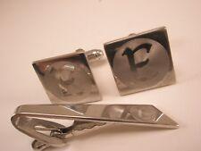 E Initial Monogram Letter Vintage Cuff Links & Tie Bar Clip set gift