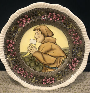 """Vintage Copeland Late Spode Plate ' Monk Drinking From Horn' 10 1/2"""" Rare"""