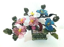 1 pc of handcrafted Jade and glass Bonsai flower Basket in Tea Tree Flower Desig