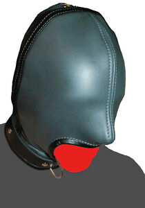 Real Genuine Leather Open Mouth Hood With Nostril Holes Cosplay Slave Masquerade