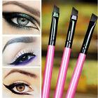 3pcs Mixed Color Angled Slanted Makeup Brush For Eyeshadow Eyeliner Cosmetic Use