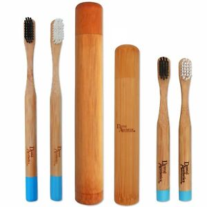 Bamboo Toothbrush & Case Family Pack ~ Childrens Adults Medium Bio-Degradable