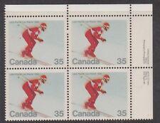 Canada. 848 Downhill skier plate block 1980 MNH