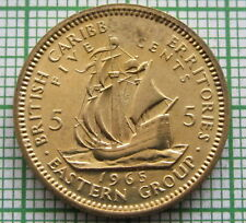MINT ERROR - MISSING LETTERS - BRITISH CARIBBEAN TERRITORIES 1965 5 CENTS, UNC