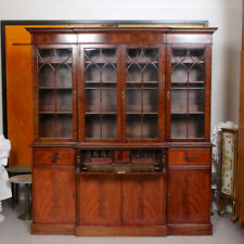 Antique Glazed Breakfront Secretaire Bureau Bookcase Astragal Library Cabinet