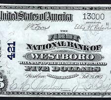 MA 1902 $5  ♚♚WESTBORO, MASSACHUSETTS♚♚ VERY CRISP  HARD TO FIND!!!