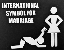 1 NEW WHITE INTERNATIONAL SYMBOL FOR MARRIAGE DECAL STICKER CHEVY FORD DODGE JDM