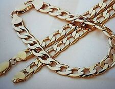 "9ct GOLD FILLED CURB SET Bracelet + Necklace 21.5"" Chain Set Christmas Gift"