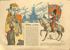 ALLEGORY British Empire GREAT BRITAIN ENTENTE CORDIALE FRANCE ILLUSTRATION 1939