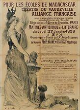 Affiche ancienne 1898  ECOLES de MADAGASCAR Théâtre du Vaudeville par C LEANDRE