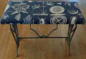 Antique Cast Iron Footstool with Upholstered Seat – VGC –BEAUTIFUL ORNATE DESIGN