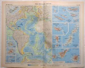 Atlantic Islands Azores Bermuda 1956-7 Geographical Institute vintage folio map