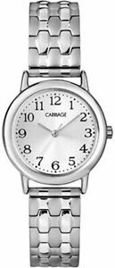 Timex Carriage C3C744, Women's Silvertone Expansion Band Watch, Silver Dial