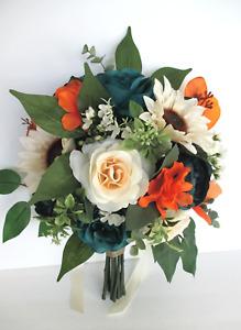 Wedding Bouquet,17 piece set Bridal bouquet TEAL BEIGE SUNFLOWER Orange Rust