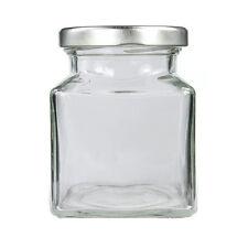 SMALL SQUARE GLASS JARS 110ML SILVER LIDS-WEDDING LOLLY JAM HONEY-FREE POSTAGE