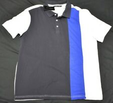 Sean John Polo Shirt Men's Size L Vertical Pieced Polo White Navy Urban N939(d)