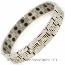 Mens TITANIUM Magnetic Bracelet Chrome 34 Magnets NdFeB Neodymium Therapy NEW