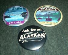 Lot of 3 Alaskan Ale and Beer Vintage Pinback Buttons