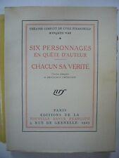 LUIGI PIRANDELLO THEATRE COMPLET 2 V 1925-1928 GALLIMARD 1/109 VERGE TT TBE