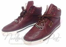 Gianni Versace Couture Burgundy Hi-Top Sneakers Quilted Woven Leather Sz 43 10.5