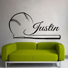 Wall Decals Baseball Vinyl Sticker Sport Player Boy Name Decal Dorm Decor kk776
