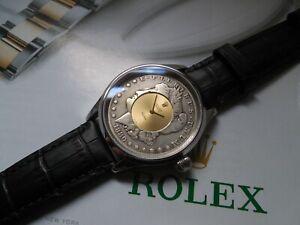 ROLEX MOVEMENT 1600 SET IN 1880 SILVER MORGAN DOLLAR 18k DIAL 44mm SWISS CASE
