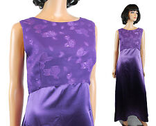 Sleeveless Prom Dress Sz S Long Purple Satin Chiffon Floral Brocade Formal Gown