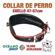COLLAR PERRO ROJO Y NEGRO ACOLCHADO AJUSTABLE CALIDAD CUELLO 47-57cm L94 3232