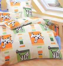 Castell Biber Classic Bettwäsche 2 tlg natur grün orange Hund Katze 135x200