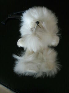 Prada Trick Furry White Freezy bear keyring key ring bag charm - a second