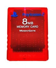 Memory Card 8MB Clear Red Magic Gate Sony PlayStation 2 / PS2 - TESTED