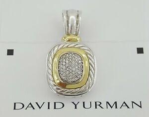 David Yurman Albion 18K Gold & Silver 0.52 ct Diamond 25mm Enhancer Pendant